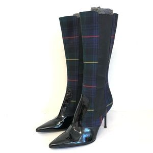 Dolce & Gabbana Boots Heels Plaid Leather Black